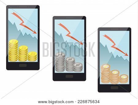 Sale Of Coins In A Smartphone On A White Background, Sale Of Coins Leads To Lower Prices, The Fall I