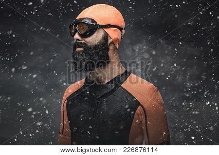 Bearded Scuba Swimmer Under Rain Drops. Concept Art