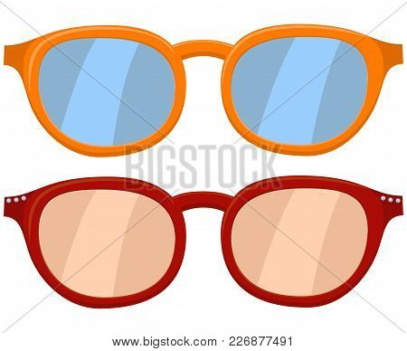 Cartoon Icon Poster Glasses, Spectacles Red Orange Set. Fashion Vector Illustration For Gift Card Ce