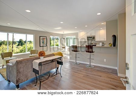 Freshly Remodeled Home Interior With Open Floor Plan