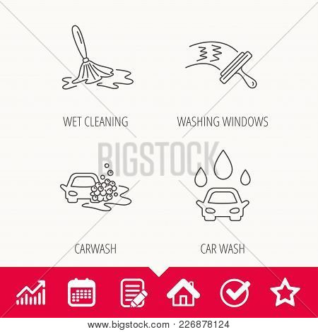 Car Wash Icons. Automatic Cleaning Station Linear Signs. Washing Windows, Wet Cleaning And Foam Buck