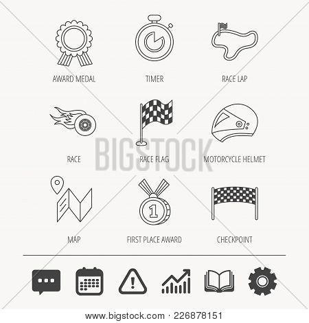Race Flag And Speed Icons. Winner Medal, Motorcycle Helmet And Timer Linear Signs. Map Navigation Fl