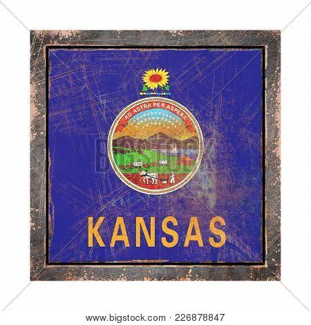 3d Rendering Of A Kansas State Flag Over A Rusty Metallic Plate Wit A Rusty Frame. Isolated On White