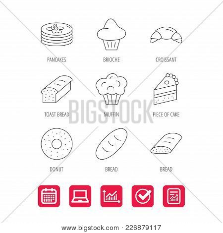 Croissant, Cake And Bread Icons. Muffin, Brioche And Sweet Donut Linear Signs. Pancakes With Syrup F