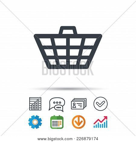 Basket Icon. Shopping Cart Symbol. Statistics Chart, Chat Speech Bubble And Contacts Signs. Check We