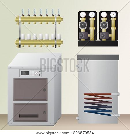 Solid Fuel Boiler In The Room. Vector Illustration. The Hvac Equipment. Manifold, Pump, Water Heatin