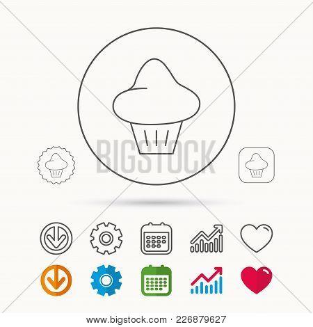 Brioche Icon. Bread Bun Sign. Bakery Symbol. Calendar, Graph Chart And Cogwheel Signs. Download And