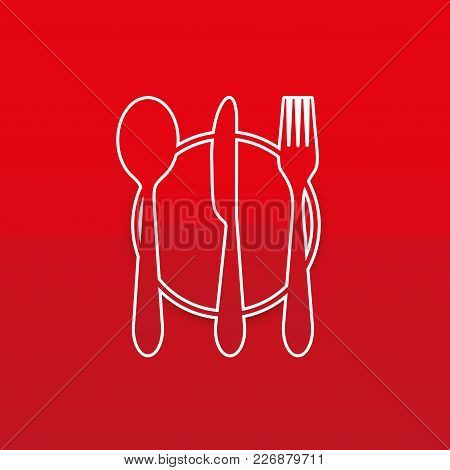 Fork, Knife, Tablespoon Vector Icon. Cutlery Collection Set Symbol. Flat Colored Design Set.
