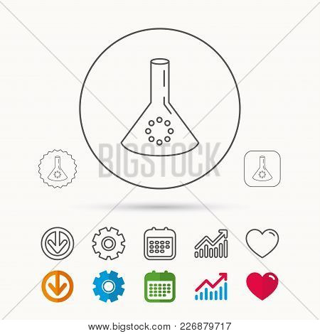 Laboratory Bulb Or Beaker Icon. Chemistry Sign. Science Or Pharmaceutical Symbol. Calendar, Graph Ch