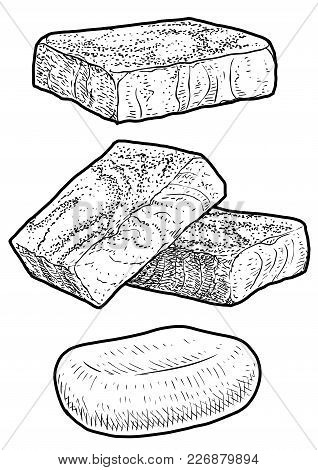 Soap, Handmade Soap Illustration, Drawing, Engraving, Ink, Line Art