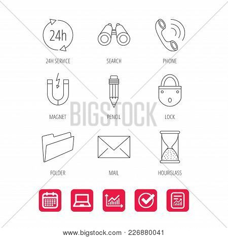 Phone Call, Pencil And Mail Icons. Search, 24h Support And Folder Linear Signs. Hourglass, Magnet En