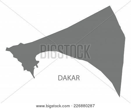 Dakar Map Of Senegal Grey Illustration Silhouette Shape