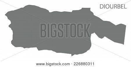 Diourbel Map Of Senegal Grey Illustration Silhouette Shape