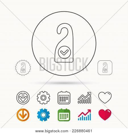 Clean Room Icon. Hotel Door Hanger Sign. Maid Service Symbol. Calendar, Graph Chart And Cogwheel Sig