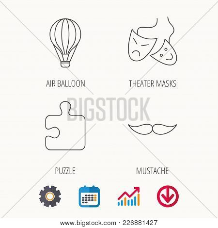 Puzzle, Air Balloon And Theater Masks. Mustache Linear Sign. Calendar, Graph Chart And Cogwheel Sign