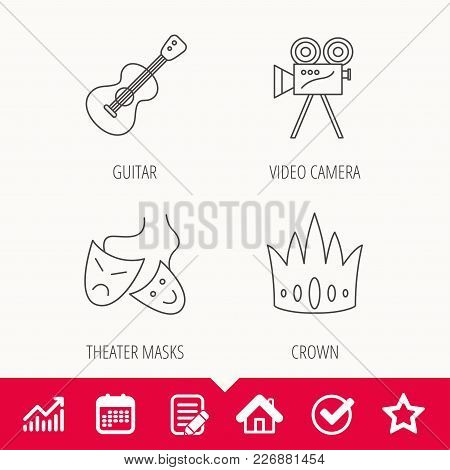 Crown, Guitar Music And Theater Masks Icons. Video Camera Linear Sign. Edit Document, Calendar And G