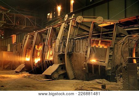 Tilting Mixer Furnace On Steel Making Plant To Mix Metal From A Number Of Blast Furnaces.