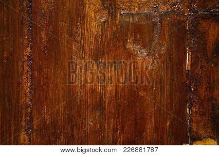 Old Door Made Of Wood Painted Brown Lacquer