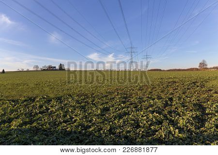 Power Line Over A Field With Blue Sky