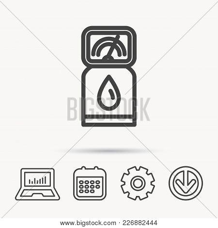 Gas Station Icon. Petrol Fuel Pump Sign. Notebook, Calendar And Cogwheel Signs. Download Arrow Web I