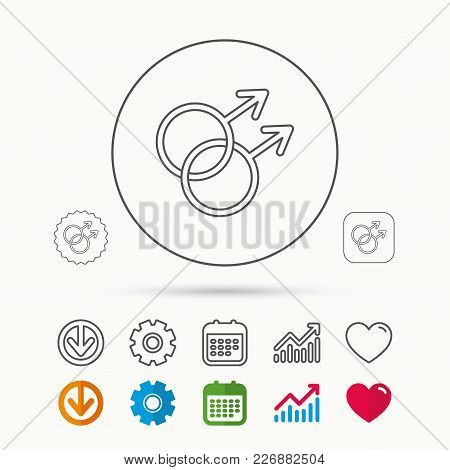 Gay Couple Icon. Homosexual Sign. Calendar, Graph Chart And Cogwheel Signs. Download And Heart Love