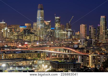 Highway to San Francisco. Night views of the Financial District from Potrero Hill