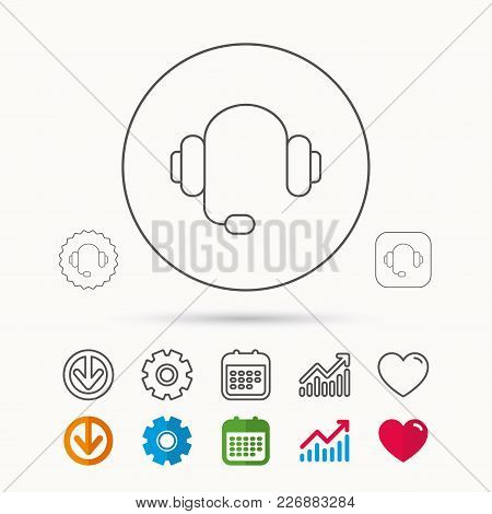 Headphones With Microphone Icon. Musical Notes Signs. Calendar, Graph Chart And Cogwheel Signs. Down