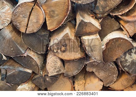 Woodpile From The Pinned, Dry Birch Firewood. Birch Firewood