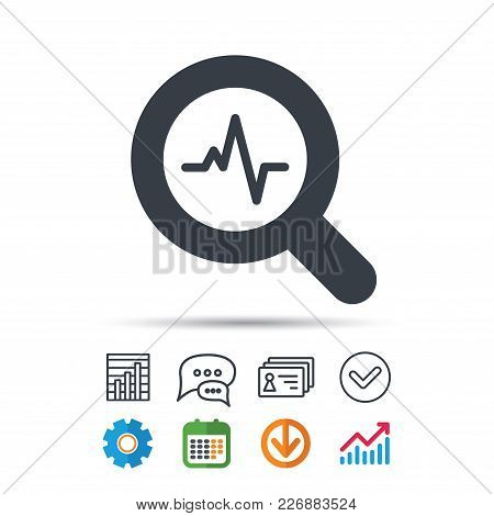 Heartbeat In Magnifying Glass Icon. Cardiology Symbol. Medical Pressure Sign. Statistics Chart, Chat