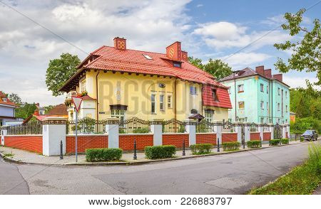 Kaliningrad. Russia - August 1, 2017: M. Raskova Street In The Amalienau Area.