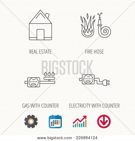 Real Estate, Fire Hose And Gas Counter Icons. Electricity Counter Linear Sign. Calendar, Graph Chart