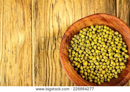Mung, A Family Of Beans, In A Wooden Plate In The Village. Place For Your Text.