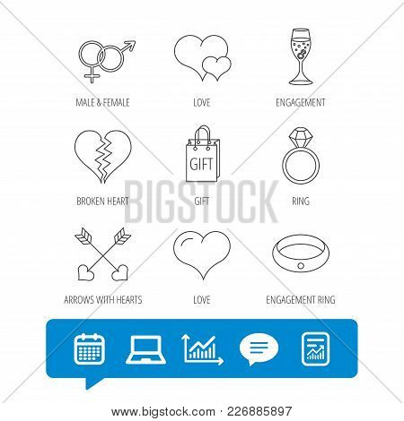 Love Heart, Gift Box And Wedding Ring Icons. Broken Heart And Engagement Linear Signs. Valentine Amo