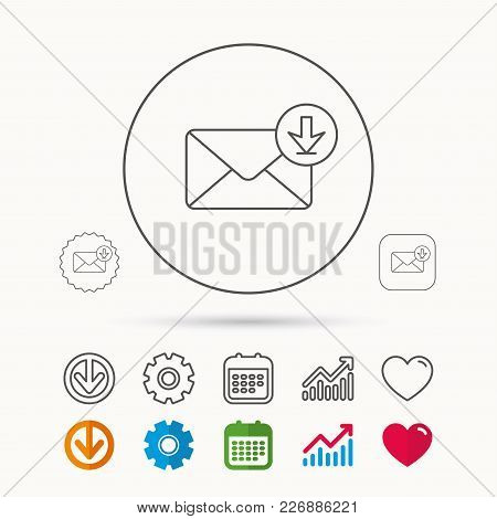 Mail Inbox Icon. Email Message Sign. Download Arrow Symbol. Calendar, Graph Chart And Cogwheel Signs