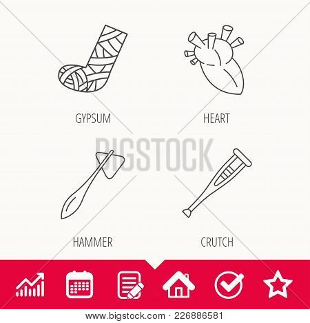 Gypsum, Heart And Medical Hammer Icons. Crutch Linear Sign. Edit Document, Calendar And Graph Chart