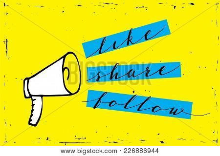Share Icon Megaphone - Communication And Promotion Strategy With Social Media.