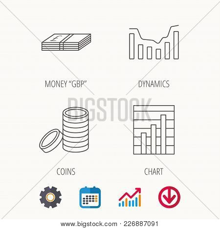 Cash Money And Dynamics Chart Icons. Coins Linear Sign. Calendar, Graph Chart And Cogwheel Signs. Do