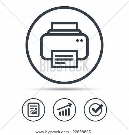 Printer Icon. Print Documents Technology Symbol. Report Document, Graph Chart And Check Signs. Circl