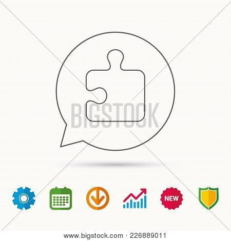 Puzzle Icon. Jigsaw Logical Game Sign. Boardgame Piece Symbol. Calendar, Graph Chart And Cogwheel Si