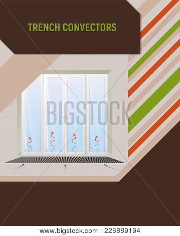 Trench Convector Under Window. Interior Design Vector Illustration.