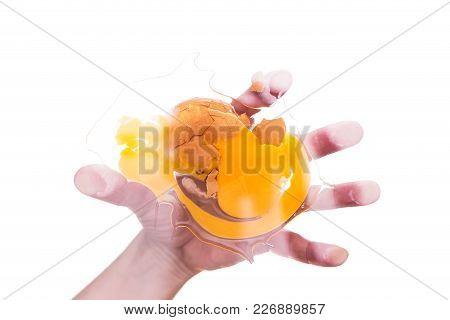 Hand And Smashed Egg