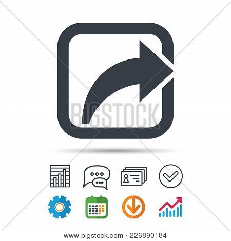 Share Icon. Send Social Media Information Symbol. Statistics Chart, Chat Speech Bubble And Contacts
