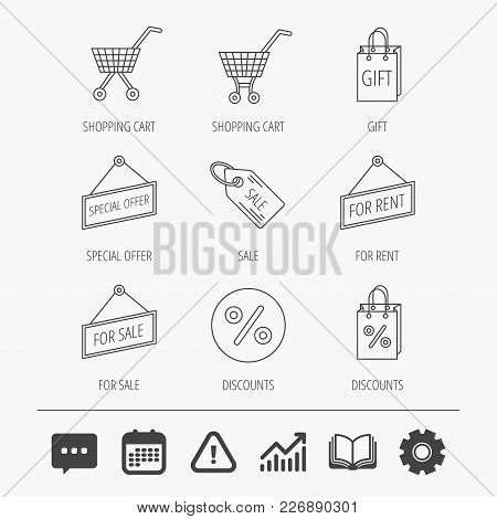 Shopping Cart, Gift Bag And Sale Coupon Icons. Special Offer Label Linear Signs. Discount Icon. Educ