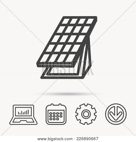 Solar Collector Icon. Sunlight Energy Generation Sign. Innovation Battery Power Symbol. Notebook, Ca