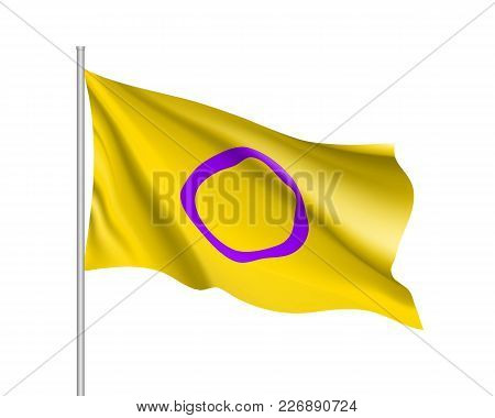 Intersexual Symbol People, Realistic Waving Flag. Symbol Of Usual Sexual Orientation. Vector Illustr
