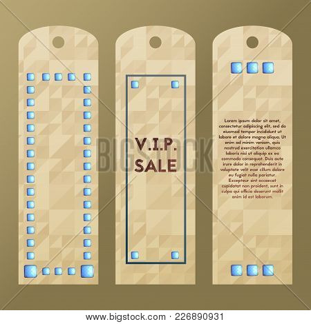 Paper Tag With Rich Lapis Lazuli. Vector Label For Sale. Collection Of Luxury Stone Templates.