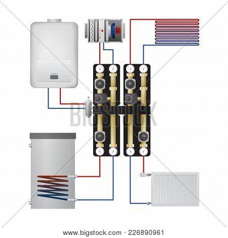 Piping Condensing Boiler Vector Illustration. Pump Unit, Steel Panel Radiator, Heater, Warm Floor, A