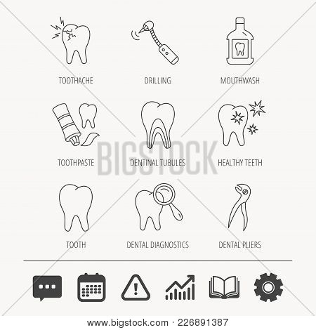 Tooth, Stomatology And Toothache Icons. Mouthwash, Dental Pliers And Diagnostics Linear Signs. Denti