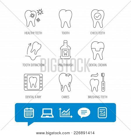 Tooth, Dental Crown And Mouthwash Icons. Caries, Tooth Extraction And Hygiene Linear Signs. Brushing
