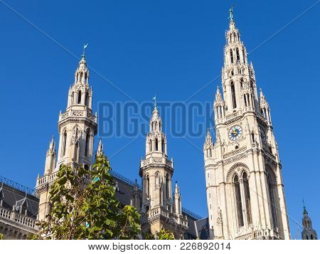 Rathaus Of Vienna. Town Hall Facade Over Blue Sky